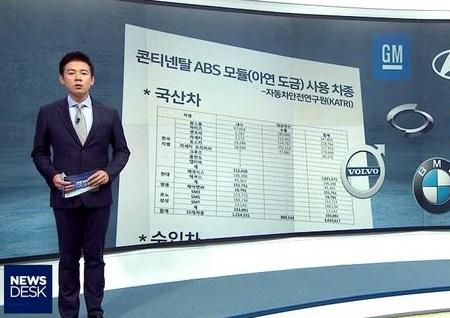 MBC '뉴스데스크' 자동차 브레이크 결함 의혹 심층보도...'밟아도 풀리고, 한쪽으로 쏠리고'