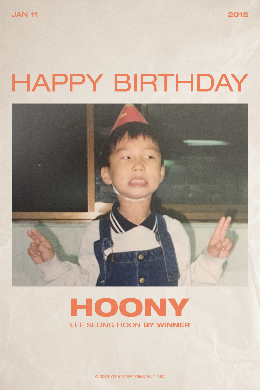 """YG, 위너 이승훈 생일 축하! """"HAPPY BIRTHDAY HOONY"""""""