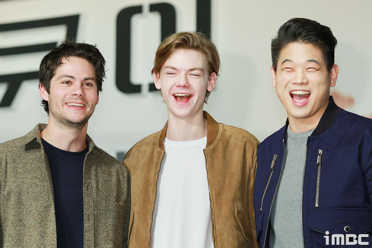 [포토] <메이즈 러너> 딜런 오브라이언-토마스 생스터-이기홍, 유쾌한 이모티콘 같은 미소