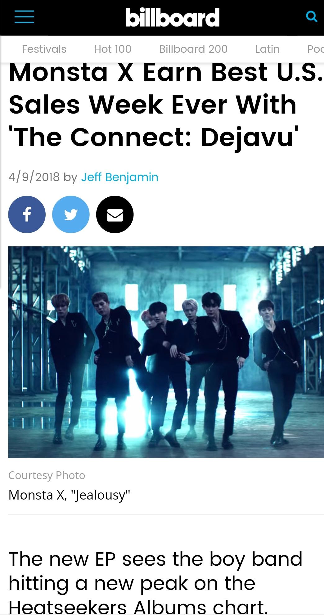 몬스타엑스, 타이틀곡 'Jealousy'로 빌보드 월드 디지털 송 세일즈 차트 4위 기록