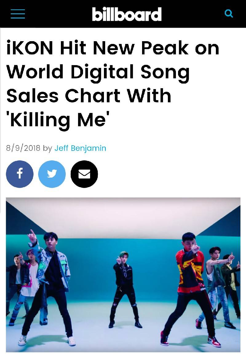 """아이콘, 월드 디지털 송 세일즈 차트 2위 달성! """"지난주 미국에서 가장 많이 팔린 K팝"""""""