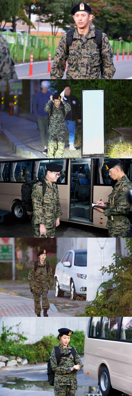 '진짜사나이300' 오지호-이정현-감스트-산다라박-주이, 오늘(8일) 새벽 특수전학교 입교길 포착
