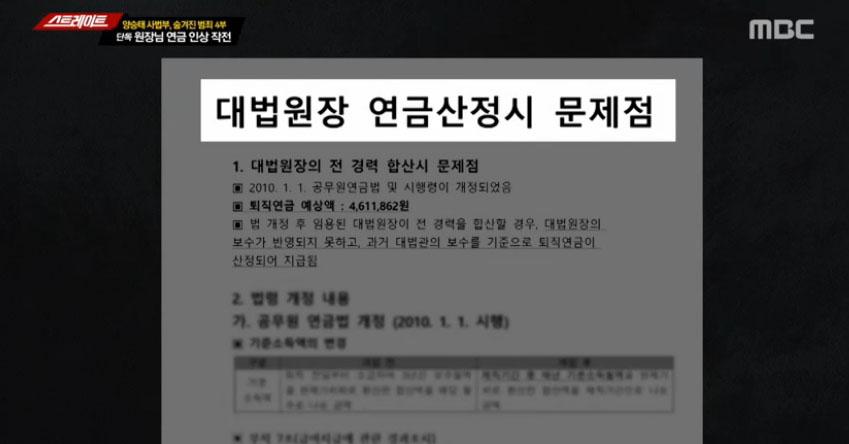'스트레이트' '돈 문제는 내로남불' 양승태 연금↑ 과거사 피해배상 기간 ↓