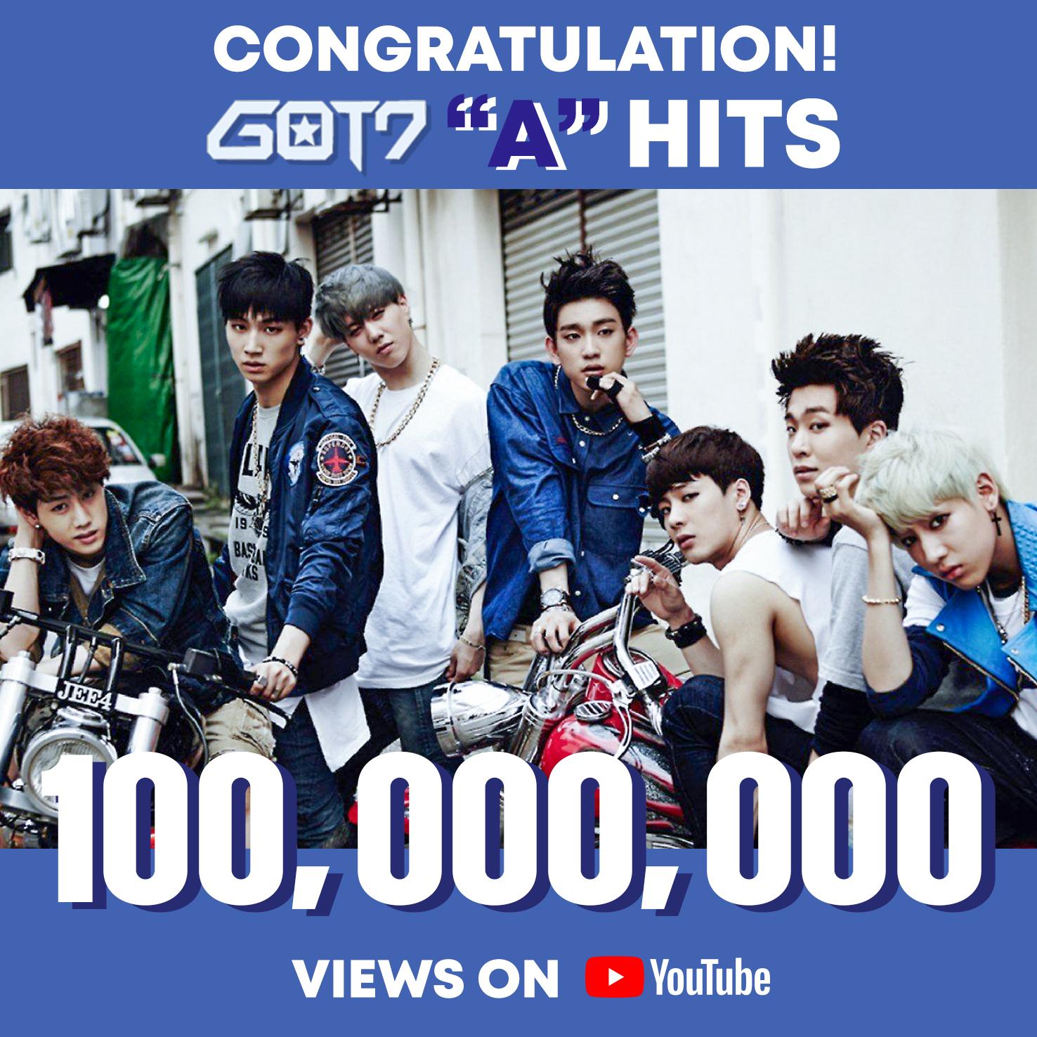 갓세븐, 'A' 뮤직비디오 유튜브 1억 뷰 돌파 '통산 4번째 기록'