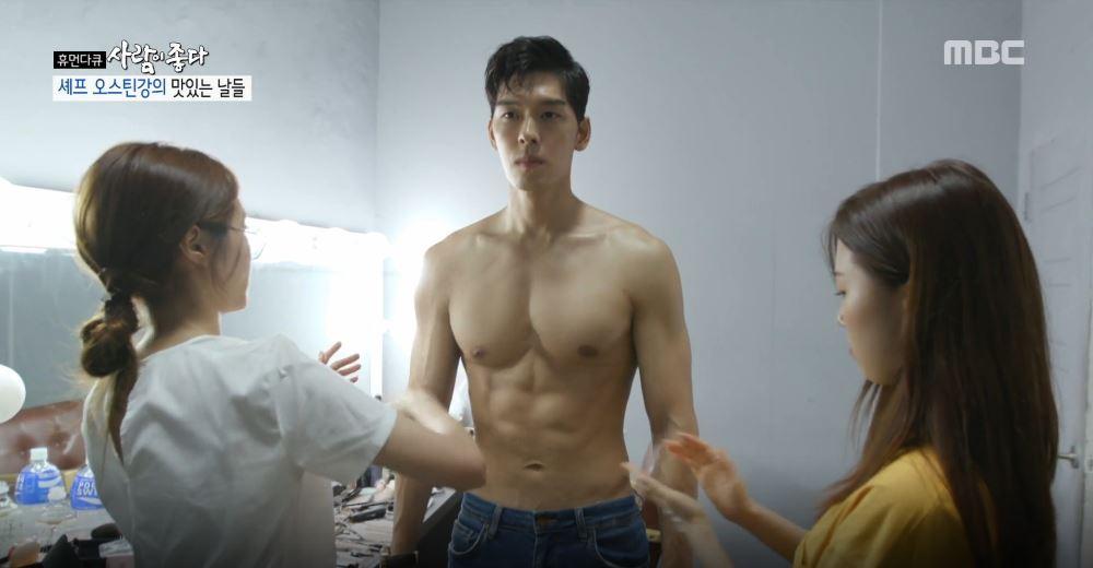 오스틴 강, 화보 촬영 현장 공개 '탄탄한 근육 자랑'