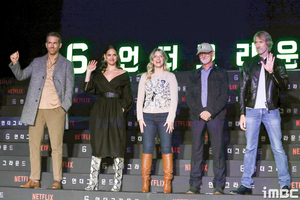[포토] 마이클 베이-이안 브라이스-출연진, 내한한 영화 6언더그라운드 팀